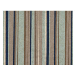 """Close to Custom Linens - 15"""" California King Bedskirt Tailored Premier Stripe Blue Taupe Beige - Premier is a varied width stripe in shades of blue and taupe on a neutral beige linen-textured background. Straight, tailored style with two pleats on each side, split corners and a 15"""" drop. 85% cotton, 15% rayon with a cotton/poly platform."""