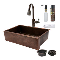 "Premier Copper Products - 35"" Kitchen Apron Sink w/ ORB Faucet - PACKAGE INCLUDES:"