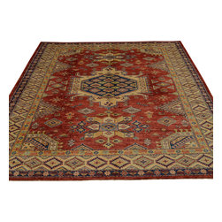 Red Super Kazak Oriental Rug Hand Knotted 6'x9' 100% Wool Tribal Design Sh18077 - Our Tribal & Geometric hand knotted rug collection, consists of classic rugs woven with geometric patterns based on traditional tribal motifs. You will find Kazak rugs and flat-woven Kilims with centuries-old classic Turkish, Persian, Caucasian and Armenian patterns. The collection also includes the antique, finely-woven Serapi Heriz, the Mamluk Afghan, and the traditional village Persian rug.