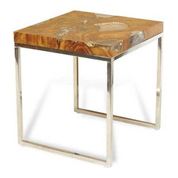 Interlude Home - Interlude Home Sivan Large Side Table - This Interlude Home Large Side Table is crafted from Teak And Cracked Resin and Stainless Steel and comes in a Polished Finish.  Overall size is:  20 in. W  x  20 in. D x 22 in. H.