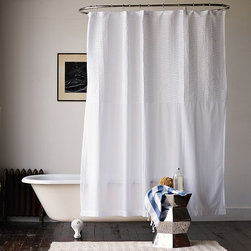 Pintuck Shower Curtain - Pleated pintucks dress up the bath with dimensional texture.