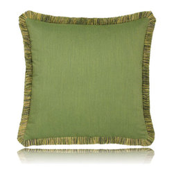Elaine Smith - green radiance w/ fringe pillow (20x20) - Performance pillows from renowned textile designer Elaine Smith® feature unique fabrics that are both soft and stylish, rich in color, lavish in detail, and impervious to the elements.