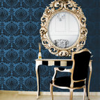 Corsini Damask Stencil - Corsini Damask Wall Stencil from Royal Design Studio Stencils. This deep blue hand painted pattern brings glamour to this regency vanity. This mediterranean stencil can be done allover or on an accent wall. It works in bedrooms, dining rooms and powder rooms