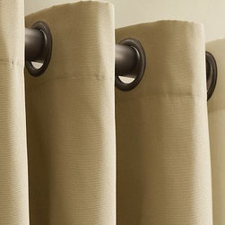 "Cameron Grommet Drape, 50 x 108"", Linen Staw - Our Cameron Collection is crafted with exceptional attention to detail and offers an incredible value. 50"" wide Thickly woven cotton provides excellent light filtration and privacy. Unlined drape is perfect for dressing a window, dividing a room or draping a doorway. Hangs from grommets, eliminating the need for hooks or rings. Features bronze-finished grommets. Watch a video on {{link path='/stylehouse/videos/videos/h2_v1_rel.html?cm_sp=Video_PIP-_-PBQUALITY-_-HANG_DRAPE' class='popup' width='420' height='300'}}how to hang a drape{{/link}}. Catalog / Internet Only. Imported. Dry-clean only."