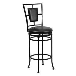 "Flash Furniture - 29"" Black Metal Bar Stool with Black Leather Swivel Seat - This gracefully styled stool will add an elegant finish to your kitchen, dining room or bar area. The curvaceous frame and attractive powder coated finish will complement any decor. The plush padded seat looks and feels great. A full 360 degree swivel and footrest ring provides comfort and ease."