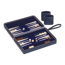 "Toss Designs - Toss Designs Navy Crosshatch Travel Backgammon - The Toss Designs backgammon travel case combines preppy style and compact function. In a cross-hatched navy case, a soft interior reveals a portable game set. 10""W x 2""D x 7""H; Leather exterior; Navy felt interior with white triangular accents; Includes 15 navy stones, 15 white stones, playing cups, a pair of die and a doubling cube"