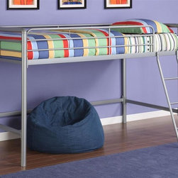 "Dorel Home Products - Junior Loft Bed - NOTE: ivgStores DOES NOT offer assembly on loft beds or bunk beds. Includes slat pack. Requires twin mattress. Full length guardrails on upper bunk for added safety. Sturdy ladder. Round metal posts. Perfect for small spaces. Warranty: One year. Silver metal finish. Weight capacity: 225 lbs.. 78.15 in. L x 42 in. W x 49.6 in. H (150 lbs.). Assembly Instructions. ""Bunk Bed Warning. Please read before purchase.""Dresser, desk, gaming center, lounger, you name it can fit down below. Create a room where kids will want to spend all their free time, starting with this junior loft bed which allows them to customize their bedroom space to suit their personal style. The area underneath the loft bed is large enough to let them create their very own den for relaxing, playtime or quiet study area. This loft bed is shorter than most, which makes is ideal for younger children."