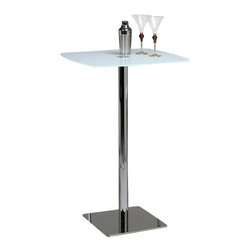"Pastel Furniture - Pastel Jasmyne Square White Glass Pub Table in Chrome and Stainless Steel - The Jasmyne pub table made with 40"" height chrome base with 28"" square white glass top. This pub table is beautifully designed with clean contemporary lines and graceful bold character. It will definitely make an elegant center piece at your next cocktail party."