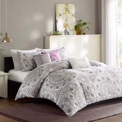 Madison Park - Madison Park Valencia 6 Piece Printed Duvet Cover Set - Valencia is a great way to update your bedroom for a fun modern look. A grey and white medallion print covers this duvet cover and a wide gray border runs along the edge to create an elegant finish. Two king shams and three embroidered decorative pillows in purple and gray add detailed accents and a pop of color to this collection. Made from 100% cotton this duvet cover is machine washable for easy care. Duvet: 100% cotton 210 TC sateen with micro fiber reverse Sham: 100% cotton 210 TC sateen with microfiber reverse Pillow: 100% polyester shell, polyester filling