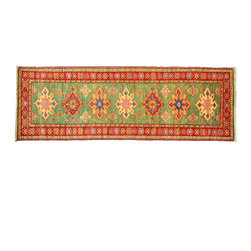 Area Rug, 3'X8' 100% Wool Hand Knotted High Quality Kazak Rug SH11314 - This collections consists of well known classical southwestern designs like Kazaks, Serapis, Herizs, Mamluks, Kilims, and Bokaras. These tribal motifs are very popular down in the South and especially out west.