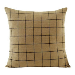 India Home Fashions - Burlap Check Euro Sham - The Burlap Star Euro Sham is a large 26x26 square pillow sham cover designed in the coordinating Burlap Check Pattern to add a little extra detail to your Burlap Star bedding collection. This Burlap sham is perfect for both king and queen size bedding sets.  The Burlap Star Pillow Sham by India Home Fashions also coordinates with Burlap Check and Burlap Natural lines.
