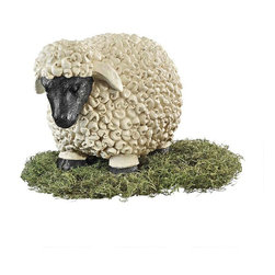 """EttansPalace - 11"""" Counting Sheep Garden Statues - Counting sheep does not just belong to the realm of dreamtime any more! Once a sign of prestige as they munched on Victorian lawns, our curly-fleeced pair will happily graze in your flowerbeds or watch over your woolens in a guest bedroom. Cast in quality designer resin, our baa-d boys are hand-painted !"""