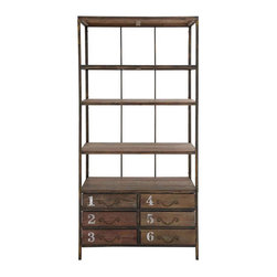 Count On It Cabinet - Six numbered drawers and four lofty shelves mean this cabinet is a home storage powerhouse. Use its industrial good looks in the family room, office, or kitchen to toughen up your style and reorganize your belongings.