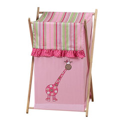 Sweet Jojo Designs - Jungle Friends Hamper - The Jungle Friends laundry hamper will help complete the look of your Sweet Jojo Designs room. This adorable laundry clothes hamper includes a wooden frame, mesh liner and fabric cover. The removable hamper body is secured to the wooden frame with corner loops and Velcro. The wooden stand folds flat for space-saving storage and the removable mesh liner is great for toting laundry. Dimensions: 26.5in. x 15.5in. x 16in.