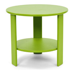 Loll Designs - Lollygagger Side Table Round, Leaf Green - The Lollygagger Side Table has that futuristic retro feeling. When you're settling back in the Lollygagger Lounge or Sofa, this table is a splendid companion to hold your favorite beverage or a book when you need to close your eyes for a minute. The lower shelf is a nice spot to keep things free from morning dew or a light rain. No Lollygagger lounge would be complete without this functional little member of the family.