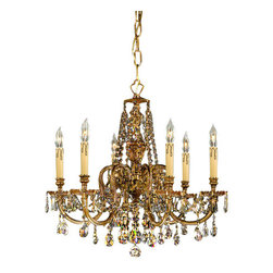 Crystorama Lighting Group - Crystorama Lighting Group 2806-CL-SAQ Baroque 6 Light Cast Brass Chandelier - Six Light Ornate Cast Brass Chandelier Accented with Swarovski Spectra CrystalRequires 6 60w Candelabra Bulbs (Not Included)Includes 39 inches of chain and 59 inches of wire