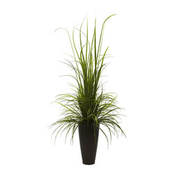 """Nearly Natural - Nearly Natural 64"""" River Grass with Planter (Indoor/Outdoor) - Grass looks great on your lawn, but it really looks good on river banks and other places where it's allowed to grow free. in fact, given room to grow unfettered, grass can be incredibly calming - tall, green, and wispy. This stunning reproduction of a """"grass bush"""" perfectly captures that look - tall blades of grass grow skyward, while other cascade downward, all coming out of an attractive brown planter. Never needs watering, and is great for your home or office."""