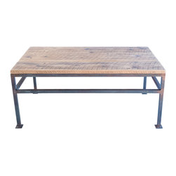 """Handcrafted - Black Bear Coffee Table, Black Tubing - This handcrafted table measures 24""""W x 48""""L x 18""""H and is made from salvaged wood from 100+ year old barn in the foothills of the Appalachian Mountains. Each board in this table was hand selected because of its beautiful character. The base was welded in our shop using 1"""" square tubing.  The tubing has a rust patina and a clear coat finish."""