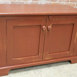 small 2 door cabinet in salem red from reclaimed barn wood - ecustomfinishes