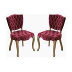Great Deal Furniture - Violetta French Design Purple Dining Chair (set of 2) - For a French inspired design, look no further than the Violetta tufted velvet fabric dining chairs. This set of two chairs offers ample tufting, a solid weathered oak frame, and intricately carved wooden legs.