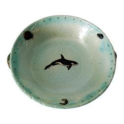 Rika Blue - Orca Pottery Bowl - Large Orca Whale Serving Bowl.