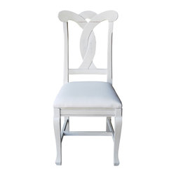 Tradewinds - Cottage Style Side Chair, Bone - This cottage furniture side chair precisely combines comfort and style with a stylish design at its back. The key feature of this wonderful creation is its removable seat for COM. Quality hardwoods are used to make this cottage furniture piece to ensure durable performance.