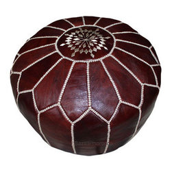 Moroccan Leather Footstool Pouf, Pouffe Dark Brown - Moroccan Leather Pouf Ottoman footstool