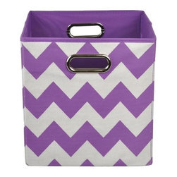 Modern Littles - Color Pop Purple Chevron Folding Storage Bin - Organize in style with this colorful storage bin. With its bold hue and easy-to-use design, it'll give any room a fun pop -- and hold all of baby's toys, blankets, and more. Perfect for kids' rooms, playrooms, or closets, it folds flat when not in use for easy storage, and the lightweight design features handles for effortless carrying.