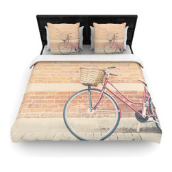 "Kess InHouse - Laura Evans ""A Red Bicycle"" Orange Brown Fleece Duvet Cover (King, 104"" x 88"") - You can curate your bedroom and turn your down comforter, UP! You're about to dream and WAKE in color with this uber stylish focal point of your bedroom with this duvet cover! Crafted at the click of your mouse, this duvet cover is not only personal and inspiring but super soft. Created out of microfiber material that is delectable, our duvets are ultra comfortable and beyond soft. Get up on the right side of the bed, or the left, this duvet cover will look good from every angle."