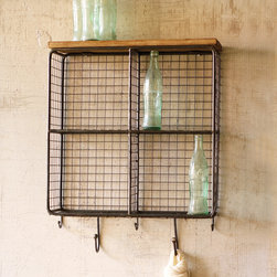 Wire Mesh Cubbies with Wood Top - Big on charm and innovation, these Wire Mesh Cubbies with Wood Top keep things organized and pretty by the entry. With four square cubbies, a wooden shelf, and five metal hooks, the piece can store daily essentials of all sizes.