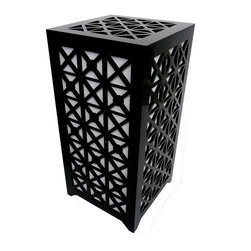 Surface Grooves - PATTAB Lamp XX, Black - Add bright personality to any room with the XX lamp. The laser-cut XX patterns on the lamp create eye-catching shadow patterns on the walls. When you use the included multicolor LED bulb, get set for a real light show!