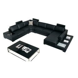 VIG Furniture - Black Top Grain Italian Leather Sectional Sofa - Comfortably seat up to seven on this powerhouse of a sectional sofa. In addition to its magnificent modern design, this leather-front sectional boasts built-in accent lighting and end tables. It's practically an entire living room all on its own.
