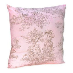 Pink and Brown Toile Print Decorative Pillow