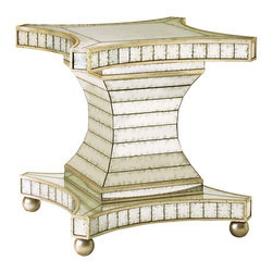 John Richard - John Richard Dining Table without Glass Top EUR-10-0002 - This pedestal base is decorated with strips of hand-antiqued mirror and the woodwork is antiqued silver leaf.