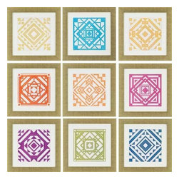 Paragon Art - Paragon Quilt ,Set of 9- Artwork - Quilt ,Set of 9                ,  Paragon Artist is Vess , Paragon has some of the finest designers in the home accessory industry. From industry veterans with an intimate knowledge of design, to new talent with an eye for the cutting edge, Paragon is poised to elevate wall decor to a new level of style.