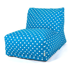 Majestic Home - Indoor Ocean Small Polka Dot Bean Bag Chair Lounger - Here's a great spot to lounge — perfect for your favorite casual setting. This update on the beanbag is ultracomfy and super stylish. Plus, you've got to love the easy care: Just zip off the cotton twill slipcover and machine wash.