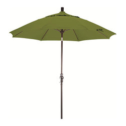 None - Fiberglass 9-foot Pacifica Ginkgo Crank and Tilt Umbrella - Enjoy the outdoors in the shade with this collapsible crank and tilt umbrella. Use it with a patio table or by the pool. With its wide,108-inch spread,it's roomy enough for friends. When it gets windy,close it easily with a crank.