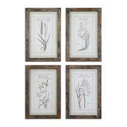Uttermost - Grasses Framed Art Set of 4 - Mother nature gets it right every single time. Hang these four pieces in a powder room and play up the rustic beauty of these grass prints. Linen mats and reclaimed wood frames complement the artwork beautifully. It's a timeless look you'll enjoy for years to come.