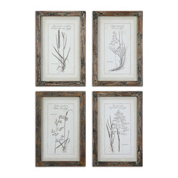 Uttermost - Grasses Framed Art, Set of 4 - Mother nature gets it right every single time. Hang these four pieces in a powder room and play up the rustic beauty of these grass prints. Linen mats and reclaimed wood frames complement the artwork beautifully. It's a timeless look you'll enjoy for years to come.