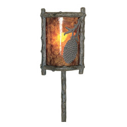 Welcome Home Accents - Pine Cone Wall Sconce - Unique pine cone faux mica wall lamp features wood like trim with bronze finished accents. Cover is faux mica with a soft orange and brown with pine cone adornment. When light shines through it gives the lamp the look of a sunset. Wood look cord cover included.Hooks on back for easy hanging