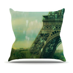 "Kess InHouse - Ann Barnes ""Paris Dreams"" Green Tower Throw Pillow (26"" x 26"") - Rest among the art you love. Transform your hang out room into a hip gallery, that's also comfortable. With this pillow you can create an environment that reflects your unique style. It's amazing what a throw pillow can do to complete a room. (Kess InHouse is not responsible for pillow fighting that may occur as the result of creative stimulation)."
