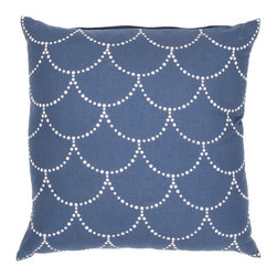Jaipur - Japiko Ivory Blue and White 18-Inch Square Pillow - - Funky range of pillows in poly dupione use rich jewel tones expressed in a highly textural and fun way. Perfect for a touch of retro glamour in your home  - Cleaning and Care: Remove the throw pillow's cover, if it is removable. Wash the cover separately from the pillow. Pre-treat badly soiled or stained areas on the pillow cover with a color-safe prewash spray. Rub the spray into the stain with a damp sponge. Wash the pillow cover, or the whole pillow, on a gentle-wash cycle in warm water with a very mild detergent. Detergent for delicate fabrics or baby clothes is usually suitable. Remove the pillow or pillow cover as soon as the washing machine has ended the cycle and has shut off. Hang the pillow or cover up to dry in a well-ventilated area. If the care label specifies that the item is dryer-safe, place the pillow or pillow cover in the dryer and tumble dry on low heat. Fluff the pillow once it is dry in order to maintain its form. Don't use the pillow until it is completely dry. Damp pillows will attract dirt more easily  - Construction: Handmade  - It is Sustainable Jaipur - PLC100803