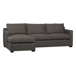Davis 2-Piece Sectional Sofa - Davis is a contemporary compact sectional designed for contemporary real life. Every imaginable configuration is possible between these modular pieces and the companion stand-alone pieces, all with firm but plump support. Upholstered in a rich tonal charcoal weave, they stand up to high traffic. Understated hardwood legs have a rich hickory finish. Davis sofa group also available.