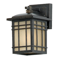 Quoizel - Quoizel HC8406IBFL Hillcrest 13W CFL Traditional Outdoor Wall Sconce - A design made for classic Arts and Crafts style homes, but looks great on contemporary or modern homes as well. The opaque linen glass softens the light, reducing glare and hot spots. It also lowers your energy consumption by using fluorescent bulbs, and by having a photocell that automatically turns the light off during daylight hours. Meets Title 24 requirements.