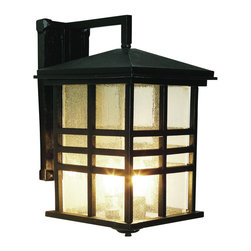 """Trans Globe Lighting - Trans Globe Lighting 4637 BK Craftsman 16"""" Outdoor Wall Light in Black - Rustic mission style outdoor coach light perfect for rustic cabin decor. Clear seeded glass in three bar frame."""