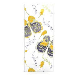 """Kess InHouse - Anneline Sophia """"Leafy Butterflies Yellow"""" Purple Butterfly Metal Luxe Panel (9"""" - Our luxe KESS InHouse art panels are the perfect addition to your super fab living room, dining room, bedroom or bathroom. Heck, we have customers that have them in their sunrooms. These items are the art equivalent to flat screens. They offer a bright splash of color in a sleek and elegant way. They are available in square and rectangle sizes. Comes with a shadow mount for an even sleeker finish. By infusing the dyes of the artwork directly onto specially coated metal panels, the artwork is extremely durable and will showcase the exceptional detail. Use them together to make large art installations or showcase them individually. Our KESS InHouse Art Panels will jump off your walls. We can't wait to see what our interior design savvy clients will come up with next."""