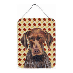 Caroline's Treasures - German Shorthaired Pointer Fall Leaves Portrait Aluminium Metal Wall Print - Great for inside or outside these Aluminum prints will add a special touch to your kitchen, bath, front door, outdoor patio or any special place.  12 inches by 16 inches and full of color.  This item will take direct sun for a while before it starts to fade.  Rust and Fade resistant.  Aluminum Print with Hanging Rope.  Rounded Corners.