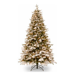 7 1/2 Ft. Feel-Real Snowy Everest Christmas Tree w/ 500 Clear Lights - Measures 7.5 feet tall with 53 inch diameter. Features FEEL-REAL branch tip technology for remarkable realism! Pre-lit with 500 UL listed, pre-strung Clear lights. Tip count: 1815. All metal hinged construction (branches are attached to center pole sections). Comes in three sections for quick and easy set-up. Includes sturdy folding metal tree stand. Light string features BULB-LOCK to keep bulbs from falling out. If one bulb burns out the others remain lit. Fire-resistant and non-allergenic. Includes spare bulbs and fuses. 5-year tree warranty / 2-year lights warranty. Packed in reusable storage carton. Assembly instructions included.