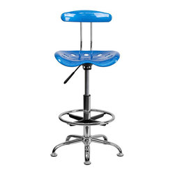 Flash Furniture - Flash Furniture Vibrant Drafting Stool Seat in Bright Blue and Chrome - Flash Furniture - Drafting Chairs - LF215BRIGHTBLUEGG - Quality chair at an amazingly affordable price! This sleek modern stool conforms to several areas in the home or office. The molded tractor seat offers great comfort. The height adjustable capability of this stool allows you to use the stool at the dining table and bar table and anywhere in between. [LF-215-BRIGHTBLUE-GG]