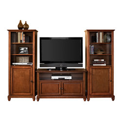 """Crosley - Cambridge 42"""" TV Stand and Two 60"""" Audio Piers in Classic Cherry Finish - Crosley's 42"""" TV stand and audio pier combination offers a unique solution for both display and storage. Extremely versatile, this combo features adjustable shelves allowing you to effortlessly organize by design. Two audio piers save space yet provide abundant storage options, while the TV stand offers a cord management system that tames the unsightly mess of tangled wires."""